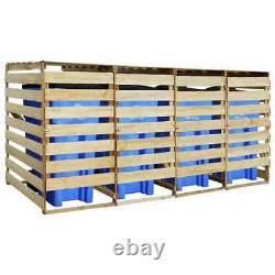 Quadruple Wheelie Bin Storage Wooden Store Cover Garden Rubbish Dustbin 4 Shed
