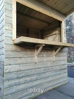 Quality Wooden Outdoor Bar Garden Pub Party Hut Fully T&G Shed and Lockable 8x4