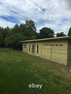SUMMERHOUSE GARDEN STUDIO DOUBLE DOOR SHED WITH OVERHANG PENT ROOF LARGE 48x10FT