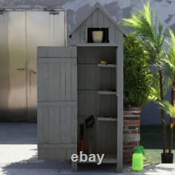 Small Garden Shed Slim Compact Wooden Outdoor Tool Storage Cabinet Lockable Door