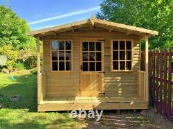 Summer House With Veranda Man Cave Garden Office Shed Tanalised Heavy Duty