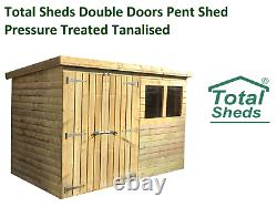 Total Sheds DOUBLE DOORS Garden Pent Shed Pressure Treated Tanalised T&G