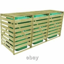 Triple Wheelie Bin Wooden Storage Shed Gardage Bins Lid Garden Outdoor Rubbish