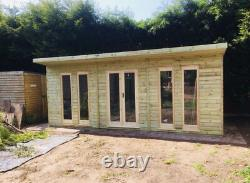 WOODEN SUMMERHOUSE GARDEN WORKSHOP STUDIO SHED CONTEMPORARY WITH CANOPY 20x10FT