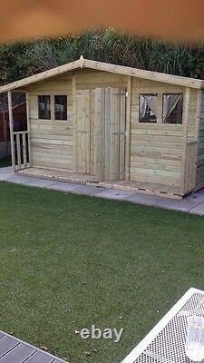 WOODEN SUMMERHOUSE TIMBER GABLED ROOF DOUBLE DOOR SHED WITH PORCH GARDEN 14x10