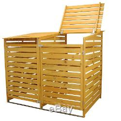 Wheelie Bin Storage Double Wooden Store Outdoor Garden Cupboard Dustbin Shed