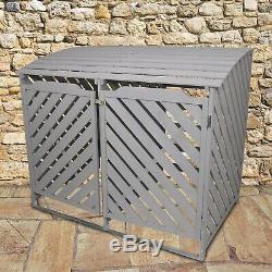 Wheelie Bin Storage Shed Double Wooden Dustbin Store Garden Outdoor Grey Wash