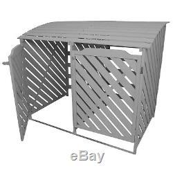 Wheelie Bin Storage Shed Store Double Wooden Dustbin Garden Outdoor Grey Wash