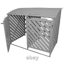 Wheelie Bin Store Double Wooden Shed Dustbin Storage Garden Outdoor Grey Cover