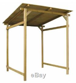 Wood Garden Shelter Canopy Roof Outdoor Wooden Shed Bike Logs Firewood Storage