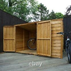 Wooden Bike Shed 4x6 Overlap Garden Storage Windowless Double Door Pent 4ft 6ft