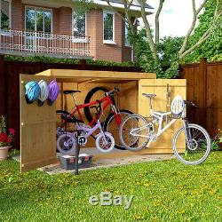 Wooden Bike Storage Shed Garden Bicycle Outdoor Tools Patio Cabinet Box Bn