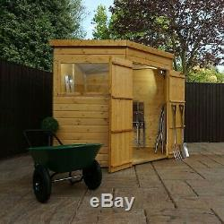 Wooden Corner Shed 7x7 Outdoor Garden Storage Building Pent Roof 7ft 7ft