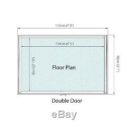 Wooden Garden Shed 5x3 Outdoor Tool / Log Storage Windowless Double Door 5ft 3ft