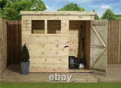 Wooden Garden Shed 8x4 Shiplap Pent Shed Tanalised Windows Pressure Treated 7
