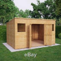 Wooden Garden Shed Pent Roof Outdoor Storage 11mm T&G Shiplap Double Doors