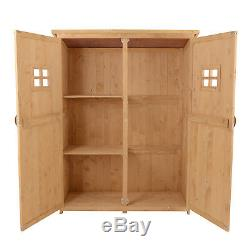 Wooden Garden Shed Tool Storage Cabinet Organizer Double Door Shelf Natural Wood