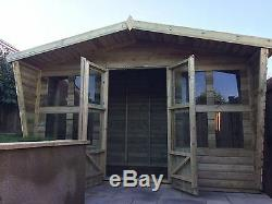 Wooden Garden Shed Ultimate Tanalised Summerhouse with Taperd Sides Shed 12x8ft
