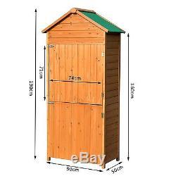 Wooden Garden Shed Wood Tool Kit Outdoor Storage Shelves Doors Utility  Lockable