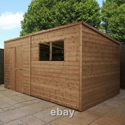 Wooden Garden Shed Workshop 14x6 Outdoor Storage Pressure Treated Pent 14ft 6ft