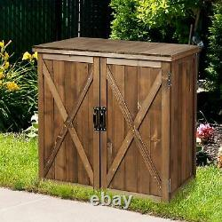 Wooden Garden Storage Cabinet Patio Cupboard Outdoor Tool Store Shed Toolbox