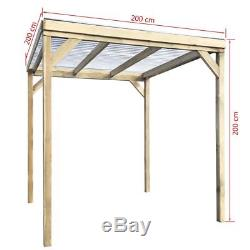 Wooden Garden Storage Shed Patio Outdoor BBQ Shelter Gazebo with PVC Roof 2 x 2 m