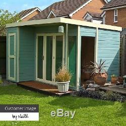 Wooden Garden Summerhouse with Side Shed 12x8 Studio Tongue & Groove 12ft 8ft
