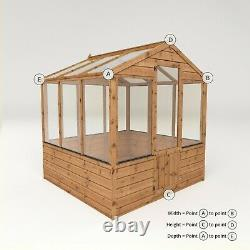 Wooden Greenhouse 6x6 Outdoor Garden Building Potting Shed Apex Roof 6ft 6ft