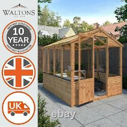 Wooden Greenhouse 8x6 Outdoor Garden Building Potting Shed Apex Roof 8ft 6ft