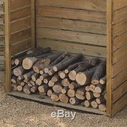 Wooden Log Storage Outdoor Garden Timber Store Shed Firewood Heavy Duty 4 x 2ft