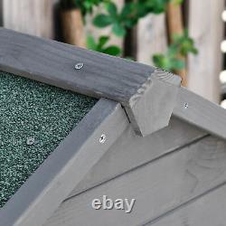Wooden Shed Utility Timber Garden Storage Roof Tool Cabinet Lockable Door Grey