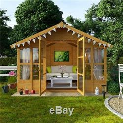 wooden summer house 8x10 garden shed flooring included traditional relaxing home