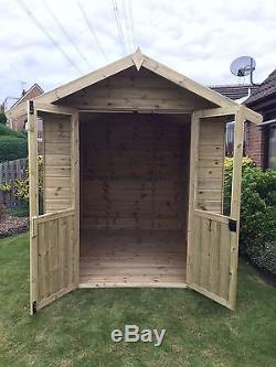 Wooden Summer House Pressure Treated 6x6 Patio Shed Garden FULLY Tu0026G 6ft X  6ft