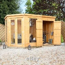 Wooden Summerhouse with Side Shed 11x7 Outdoor Garden Room Sunroom 11ft 7ft