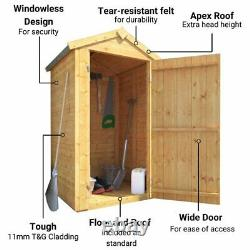 Wooden Tall Storage Box Tongue & Groove Garden Storage Windowless Shed