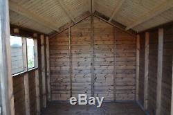 Wooden Workshop Garden Shed Double Door Reverse Apex Roof. Manufactured on Order