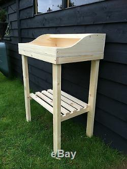 Wooden potting table. Solid, garden greenhouse potting shed handmade